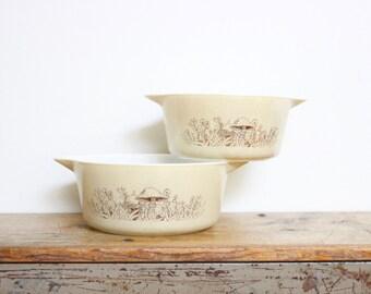 Mushroom Pyrex Bowl Set Of Two 2 Dish Modern Decor Mid Century MCM Vintage Mixing Bowl Handle Large Ovenware 1.5 / 2.5 Bowls Forest Fancies
