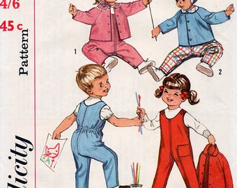 1960s Toddlers Overalls Pattern with Jacket and Hat Simplicity 5101 Child's Vintage Dungarees Sewing Pattern Size 2 Years FF