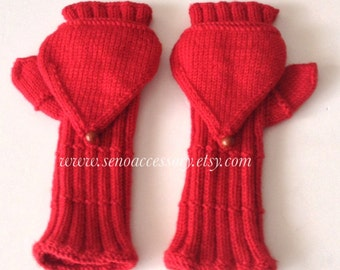 Knit Fingerless Gloves . Gifts For Her /Convertible Mitten / Accessories / Women Gloves / Gifts For Her ,Valentines Day Gifts,Winter Gloves