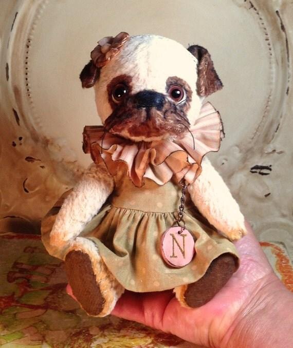 Primitive Antique style viscose Artist Bear Pug Handmade  Hafair Penny Grotz