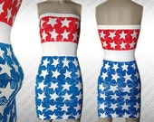 White Tunic Dress,Custom Hand Painted USA Flag Dress,American Flag Apparel,July 4th Clothing,Red White & Blue Dress,Patriotic Apparel