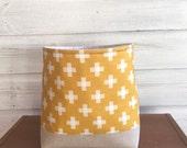 Fabric Storage Basket Gold Yellow Cross