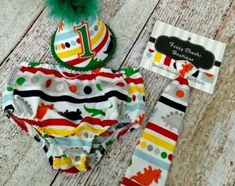 First Birthday Dinosaur Party Hat,  Necktie & Diaper in Multi Dinosaur