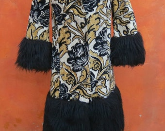 Super Glam Vintage Women's 1960s Gold Black Floral Tapestry Faux Fur Jacket Coat. Lilli Diamond California. Boho Hippie Gypsy Festival