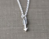 Tiniest Arrow Necklace - Cupid's Arrow Love Necklace for Her - Girlfriend Wife Gift - Women's Jewelry Gift - Sterling Silver Jewelry