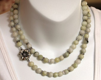 Multistrand agate necklace and earring set