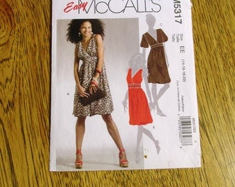 BOHO Empire Line Dress w/ Bubble Skirt, Puff Sleeves & Plunging V Neck - Plus Size (14 - 16 - 18 - 20) - UNCUT Sewing Pattern McCalls 5317