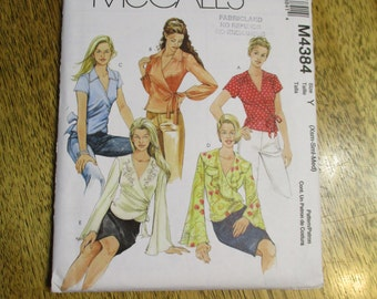 BOHO Wrap-Around BLOUSE with Flutter Sleeves - Pretty Fairy Fashion - Size (Xsm - Sm - Med) - UNCUT Sewing Pattern McCalls 4384