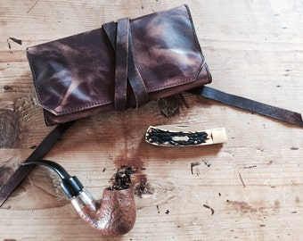 Handmade Pipe Pouch * Tobacco Pouch * Pipe Bag * Pipe Roll * Leather Pipe Pouch * The Original Standard * Sorringowl Etsy * Made in the USA