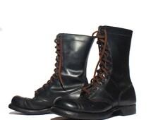 7.5 D | Corcoran Paratrooper Jump Boots Black Cap Toe Combat Boots