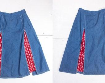 24 Waist   1950's Vintage Skorts Blue Skirt with Red Bandana Shorts
