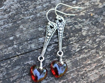 Heart of Glass Earrings silver earrings with red glass heart beads romantic handmade jewelry gift