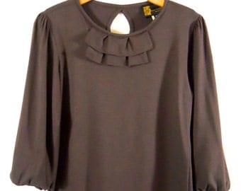 Brown blouse with three quarter sleeve, ecofriendly blouse ecofriendly top top with ruffles long tops gifts for her top with key hole