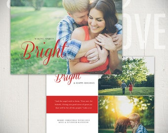 Christmas Card Template: Bright Spirits A - 5x7 Holiday Card Template for Photographers