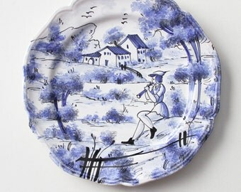 Vintage Hand Painted Italian Pottery Wall Plate - Ceramic Plate Italy - Blue White Hand Painted Wall Dish - Handmade Decorative Plate