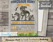 Jurassic Dinosaur Hunt Invitation - INSTANT DOWNLOAD - Partially Editable & Printable T-rex Birthday Party Invite by Sassaby Parties