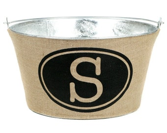 20% OFF! Monogrammed Burlap Wine Tub for Weddings, Shower Events...a must for entertaining. Rustic Elegant Wine or Drink Tub.