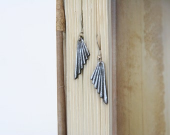 Wing Dangles Vintage Art Deco earrings - made with vintage buttons