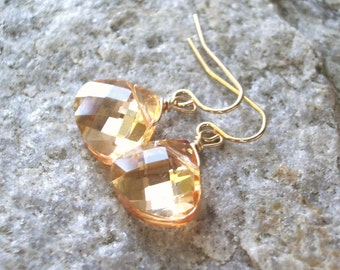 Peach wedding earrings teardrop crystal earring bridesmaid bridal party and gold dangle earrings