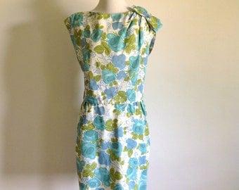 60s Blue Floral Dress Set - Vintage Leslie Fay - Size Medium to Large
