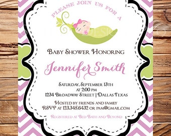 Pea in a pod Baby Shower Invitation, Baby Girl, Sweet Pea Baby Shower Invitation, GIRL, sweetpea Baby Shower, Purple chevron, 1479