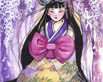 Fantasy Art Print, Wisteria, Japanese Girl, Kimono, Asian Themed Art