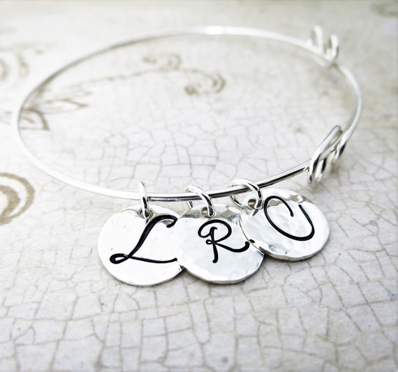 Custom Bangle - Sterling Silver Initial Bracelet - Three Discs - Three Initials - Adjustable Bangle - Script Initial Jewelry - Mommy Jewelry