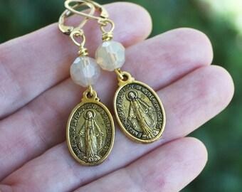 Miraculous Medal Earrings, Catholic earrings, gold earrings, religious earrings, czech bead earrings, Christian earrings, Madonna Earrings