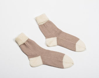 Handmade knitted socks - caramel beige and warm white - knitting home socks