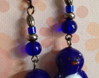 Blue penguin beaded handmade earrings, dangle earrings, bohemian earrings