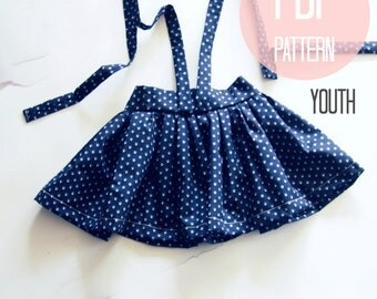 Skirt Pattern PDF Pattern for High Waist Suspender for Girls Size 7 8 Girl Skirt Pattern Vintage Style Skirt Easy Beginner Sewing Pattern