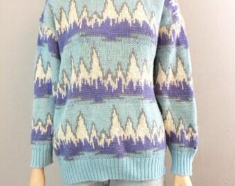 Vintage 80s Abstract Mountain Range Sweater