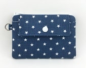 Star Zipper Pouch, Coin Purse, Mini Snap Wallet, Small Gadget Case, Notions Pouch, Dark Dusty Blue, Padded