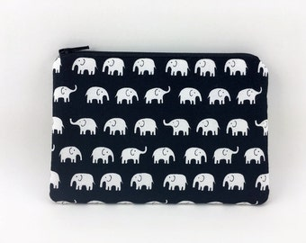 Elephant Coin Purse - Zipper Pouch - Card Pouch - Black Wallet - Padded Pouch - Small Change Purse - Gift ideas
