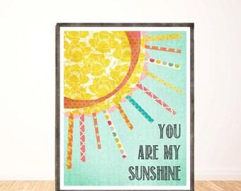 You are My Sunshine, Vertical, Wall Art, Chidren's Wall Decor, Girl Nursery, Print, Art for Girl Nursery, My Only Sunshine, Illustration