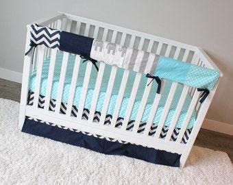 Bumperless Elephant Baby Bedding, Navy Blue, Aqua and Grey Crib Bedding, Elephant Bedding Crib Set, Baby Boy Bedding, Crib Rail Guard