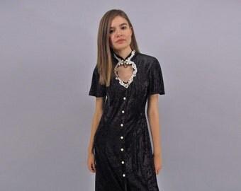 Vintage 90s Crushed Velvet Dress, Maxi Dress, Velvet Maxi Dress, 90s Goth Dress Δ size: sm / md