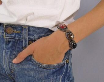 Vintage 70s Gemstone Bracelet, Boho Bracelet, Gem Bracelet, Mix Gem Link Bracelet