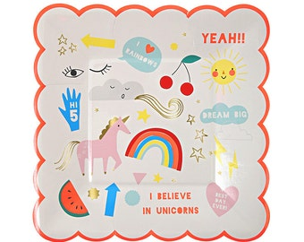 Rainbow and Unicorn Paper Plates | Rainbow and Unicorn Party | Unicorn Plates by Meri Meri