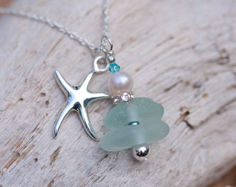 Turquoise Sea Glass Necklace 130-0071