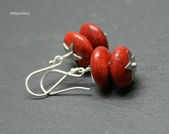 Red Coral Sterling Silver Dangle Earrings