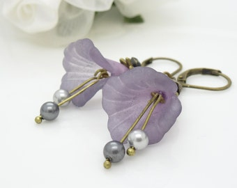 Purple and gray earrings, dark and light grey and lavender purple flower earrings, antique brass jewelry