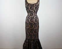 holliewould | vtg 1950s lace cocktail gown | vintage 50s party dress | prom | mermaid | small/medium | s/m
