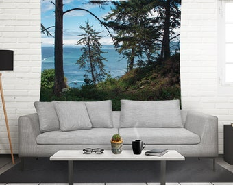 Trees Wall Tapestry, Beach Tapestry, Redwood Forest Tapestry, California Wall Tapestry, California Coast Tapestry, Redwoods, Norcal