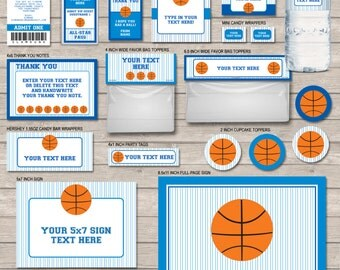 Basketball Birthday Party Package - Navy Blue & Blue - full Printable Set - INSTANT DOWNLOAD with EDITABLE text - you personalize at home