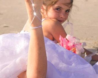 Flower Girl Shoes- Barefoot Sandals- Beach Wedding- Foot Jewelry- Footless Sandals- Barefoot Wedding Sandal- Flower Girl Gift- Sandles- MCC
