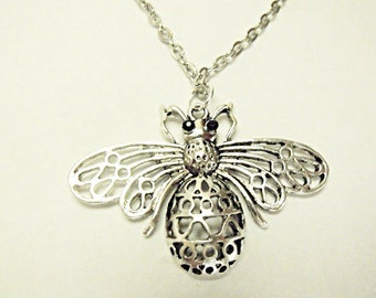Silver Pendant Necklace,  Steampunk Large Silver Bee Necklace Mens Womens Gift  Handmade