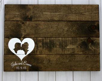 Custom Silhouette Rustic Wood Guestbook - Custom Wedding Guest Book Wood Signature Board Wedding Couples Name Wedding Date Custom Silhouette