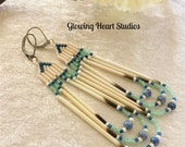 Porcupine Quill earrings - navy and mint green - blue lace agate stone beads