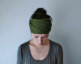 DESERT GREEN Head Scarf - Avocado Green Jersey Yoga Headband - Green Hair Wrap - Womens Workout Hair Accessories - EcoShag